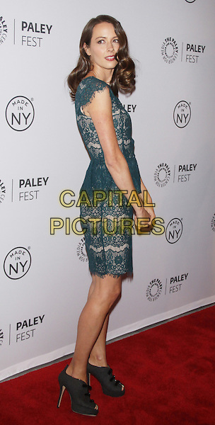 Amy Acker<br /> at the The Paley Center for Media Presents PaleyFest: Made in NY &quot;Person Of Interest&quot; at the Paley Center for Media  in New York City, NY, USA, October 3rd 2013. <br /> full length dress side green lace <br /> CAP/MPI/RW<br /> &copy;RW/ MediaPunch/Capital Pictures