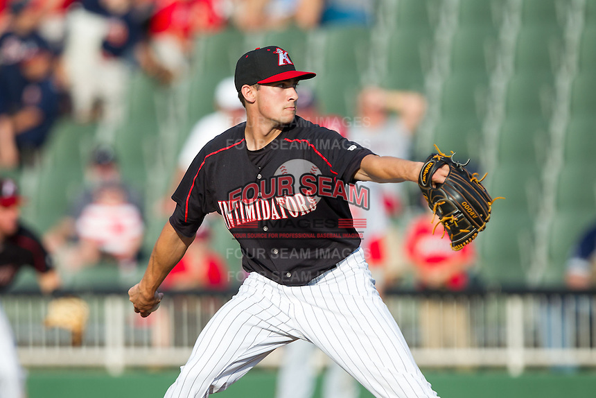 Kannapolis Intimidators relief pitcher Matt Abramson (26) in action against the Hagerstown Suns at CMC-Northeast Stadium on May 31, 2014 in Kannapolis, North Carolina.  The Intimidators defeated the Suns 3-2 in game one of a double-header.  (Brian Westerholt/Four Seam Images)