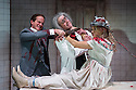 London, UK. 24.10.2014. THE GRAND-GUIGNOL, by Carl Grose, opens at Southwark Playhouse. Picture shows:   Paul Chequer (Ratineau), Robert Portal (Paulais), Emily Raymond (Maxa). Photograph © Jane Hobson.
