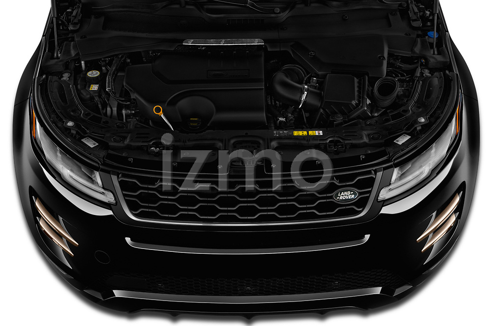 Car stock 2020 Land Rover Range Rover Evoque First Edition 5 Door SUV engine high angle detail view