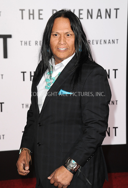WWW.ACEPIXS.COM<br /> <br /> December 16 2015, LA<br /> <br /> Arthur Redcloud arriving at the premiere of 'The Revenant' at the TCL Chinese Theatre on December 16, 2015 in Hollywood, California.<br /> <br /> <br /> By Line: Peter West/ACE Pictures<br /> <br /> <br /> ACE Pictures, Inc.<br /> tel: 646 769 0430<br /> Email: info@acepixs.com<br /> www.acepixs.com