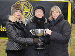 Bernadette McGuill wife of the late Larry McGuill and her daughters Goretti and Margaret pictured with the trophy in Larry's honour at Rás nahÉireann held at Oldbridge estate. Photo: Colin Bell/pressphotos.ie