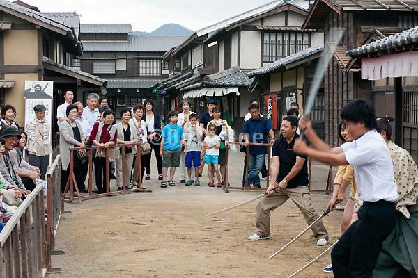 playing samurai at the Toei Kyoto studio park