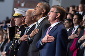 United States President Barack Obama (2nd-R), Vice President Joe Biden (2nd-L) Chairman of the Joint Chiefs of Staff Gen. Joseph Dunford Jr. (L) and Secretary of Defense Ashton Carter stand for the National Anthem during President Obama's Armed Forces Full Honor Review Farewell Ceremony at Joint Base Myers-Henderson Hall, in Virginia on January 4, 2017. The five braces of the military honored the president and vice-president for their service as they conclude their final term in office. <br /> Credit: Kevin Dietsch / Pool via CNP