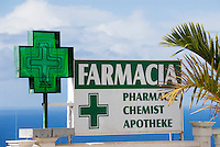 Spain, Canary Islands, La Palma, chemist, drugstore, sign