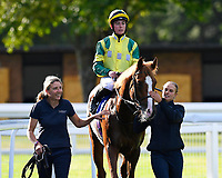 Winner of The T & M Glass Ltd and TDK Novice Median Auction Stakes   Jersey Wonder ridden by Rossa Ryan and trained by Jamie Osborne  during Twilight Racing at Salisbury Racecourse on 14th September 2018
