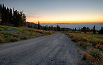 Idaho, Central, Cascade, Boise National Forest, Snowbank Mountain Road on the slopes of Granite Mountain on a dawn in summer.