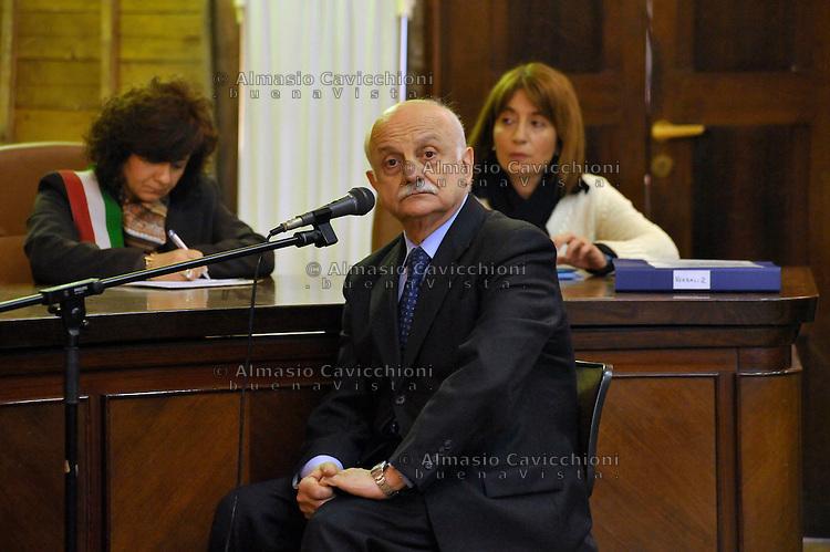 FEB 23  2009 MILAN, TRIAL TO THE NEW RED BRIGADES,   General Mario Mori, once head of SISDE  Italy's civilian intelligence agency.23 FEB 2009 MILANO, PROCESSO ALLE NUOVE BR, IL GENERALE MARIO MORI EX DIRETTORE DEL SISDE..