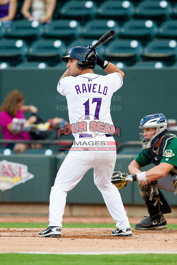 Rangel Ravelo (17) of the Winston-Salem Dash at bat against the Lynchburg Hillcats at BB&T Ballpark on August 5, 2013 in Winston-Salem, North Carolina.  The Dash defeated the Hillcats 5-0.  (Brian Westerholt/Four Seam Images)