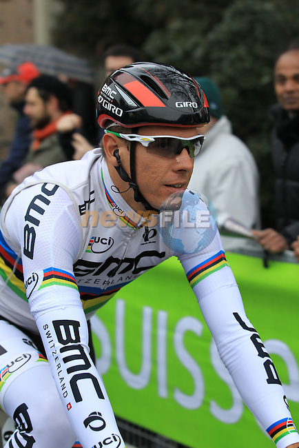 World Champion Philippe Gilbert (BEL) BMC Racing Team at the sign on before the start of the 104th edition of the Milan-San Remo cycle race at Castello Sforzesco in Milan, 17th March 2013 (Photo by Eoin Clarke 2013)