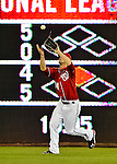 19 May 2012: Washington Nationals outfielder Bryce Harper pulls one in during a game against the Baltimore Orioles at Nationals Park in Washington, DC. The Orioles defeated the Nationals 6-5 in the second game of their 3-game series. Mandatory Credit: Ed Wolfstein Photo