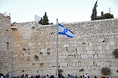 Very high resolution late afternoon view of the Israeli flag flying in front of the Western Wall in the Old City of Jerusalem on Thursday, November 2, 2017.<br /> Credit: Ron Sachs / CNP