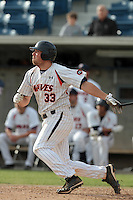 Sam Meyer #33 of the Pepperdine Waves bats against the Texas A&M Aggies at Eddy D. Field Stadium on March 23, 2012 in Malibu,California. Texas A&M defeated Pepperdine 4-0.(Larry Goren/Four Seam Images)