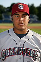 July 27, 2009:  Catcher Juan Aponte of the Mahoning Valley Scrappers during a game at Dwyer Stadium in Batavia, NY.  Mahoning Valley is the NY-Penn League Short-Season Class-A affiliate of the Cleveland Indians.  Photo By Mike Janes/Four Seam Images
