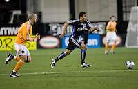 Arturo Alavarez dribbles the ball. San Jose Earthquakes defeated Houston Dynamo 3-2 at Buck Shaw Stadium in Santa Clara, California on March 28th, 2009.