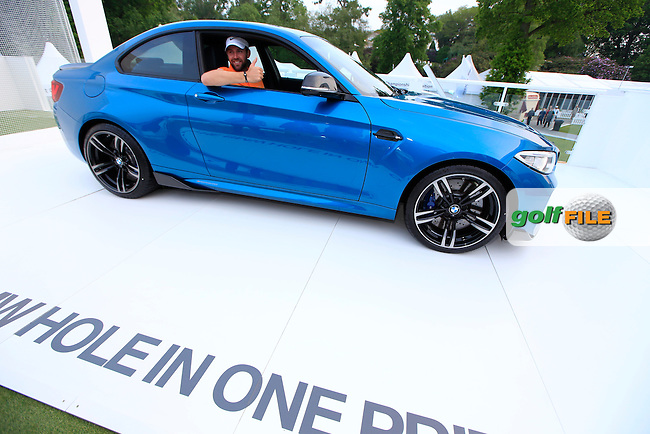 Scott Jameson with the keys to his hole in one prise from the 10th hole after round 2 of the 2016 BMW PGA Championship. Wentworth Golf Club, Virginia Water, Surrey, UK. 27/05/2016.<br /> Picture Fran Caffrey / Golffile.ie<br /> <br /> All photo usage must carry mandatory copyright credit (&copy; Golffile | Fran Caffrey)