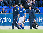 St Johnstone v Alashkert FC...09.07.15   UEFA Europa League Qualifier 2nd Leg<br /> Steven Anderson goes off injured with a suspected fracture to the cheekbone<br /> Picture by Graeme Hart.<br /> Copyright Perthshire Picture Agency<br /> Tel: 01738 623350  Mobile: 07990 594431