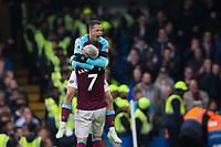 West Ham United's Javier Hernandez celebrates scoring his side's equalising goal to make the score 1-1 with team mate Marko Arnautovic <br /> <br /> Photographer Craig Mercer/CameraSport<br /> <br /> The Premier League - Chelsea v West Ham United - Sunday 8th April 2018 - Stamford Bridge - London<br /> <br /> World Copyright &copy; 2018 CameraSport. All rights reserved. 43 Linden Ave. Countesthorpe. Leicester. England. LE8 5PG - Tel: +44 (0) 116 277 4147 - admin@camerasport.com - www.camerasport.com