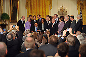 Washington, D.C. - March 9, 2009 -- United States President Barack Obama signs an Executive Order on stem cell research in the East Room of the White House in Washington, D.C. on Monday, March 9, 2009..Credit: Ron Sachs / CNP