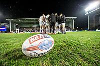 Picture by Allan McKenzie/SWpix.com - 09/03/2018 - Rugby League - Betfred Super League - Warrington Wolves v St Helens - Halliwell Jones Stadium, Warrington, England - Betfred, ball, branding.