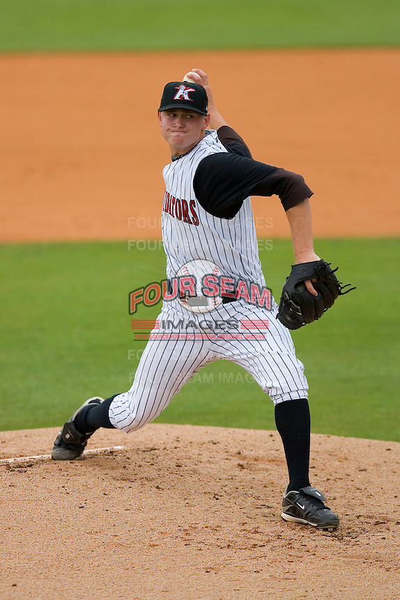Starting pitcher J.R. Ballinger #28 of the Kannapolis Intimidators in action versus the Delmarva Shorebirds at Fieldcrest Cannon Stadium July 5, 2009 in Kannapolis, North Carolina. (Photo by Brian Westerholt / Four Seam Images)