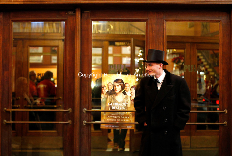 """Torrington, CT- 02 January 2016-010216CM10-  Henry Thorpe of Sydney, Australia dons a top hat as he attends a preview of the premier of the PBS drama series """"Downton Abbey"""" at the Warner Theatre in Torrington on Saturday.      Christopher Massa Republican-American"""