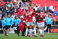 Salford City players celebrate their victory at the final whistle during AFC Fylde vs Salford City, Vanarama National League Football Promotion Final at Wembley Stadium on 11th May 2019