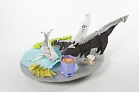 OrigamiUSA 2017 Holiday Tree at the American Museum of Natural History. Base 19 models:<br /> Nose: Designer &ndash; Talo Kawasaki, Folder &ndash; Talo Kawasaki<br /> Dinner Plate: Designer - Hyo Ahn, Folder &ndash; Rosalind Joyce<br /> Fish on a Fork: Designer &ndash; Alexander Poddubny, Folder &ndash; Rosalind Joyce<br /> Fish Bones: Designer &ndash; Sebastien Limet, Folder &ndash; Rosalind Joyce<br /> Coffee Cup: Designer &ndash; Shuzo Fujimoto, Folder &ndash; Rosalind Joyce<br /> Centipede: Designer &ndash; unknown, Folder &ndash; (from stored tree models collection)<br /> Skunks: Designer &ndash; John Montroll, Folder &ndash; (from stored tree models collection)