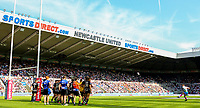 St Helens' Danny Richardson kicks a conversion<br /> <br /> Photographer Alex Dodd/CameraSport<br /> <br /> Betfred Super League Round 15 - Magic Weekend - Widnes Vikings v St Helens - Saturday 19th May 2018 - St James' Park - Newcastle<br /> <br /> World Copyright &copy; 2018 CameraSport. All rights reserved. 43 Linden Ave. Countesthorpe. Leicester. England. LE8 5PG - Tel: +44 (0) 116 277 4147 - admin@camerasport.com - www.camerasport.com