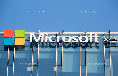 Microsoft, Oct 23, 2017 : The company logo of Microsoft is seen on the office building of Microsoft Korea in Seoul, South Korea. (Photo by Lee Jae-Won/AFLO) (SOUTH KOREA)