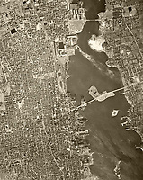 historical aerial photo map of New Bedford, Massachusetts, 1938