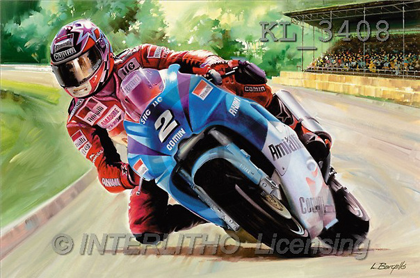Interlitho, Luis, MASCULIN, paintings, motobike race(KL3408,#M#) Männer, masculino, illustrations, pinturas , hombres ,everyday