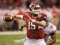 Bryan Mallett of Arkansas throws the ball during the game against Ohio State during 77th Annual Allstate Sugar Bowl Classic at Louisiana Superdome in New Orleans, Louisiana on January 4th, 2011.  Ohio State defeated Arkansas, 31-26.