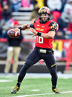 College Park, MD - NOV 11, 2017: Maryland Terrapins quarterback Ryan Brand (16) drops back to pass during game between Maryland and Michigan at Capital One Field at Maryland Stadium in College Park, MD. (Photo by Phil Peters/Media Images International)