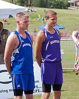 Awaiting his All-State medal, Hollister junior Cody Canote (left) shares the 7th place spot on the awards stand with Hallsville's Kyle Borland, as the pair both cleared 13 feet to tie for 7th in the Class 3 Boys Pole Vault at the MSHSAA Class 3-4 State Track and Field Championships in Jefferson City, MO. Saturday, May 25, 2013.