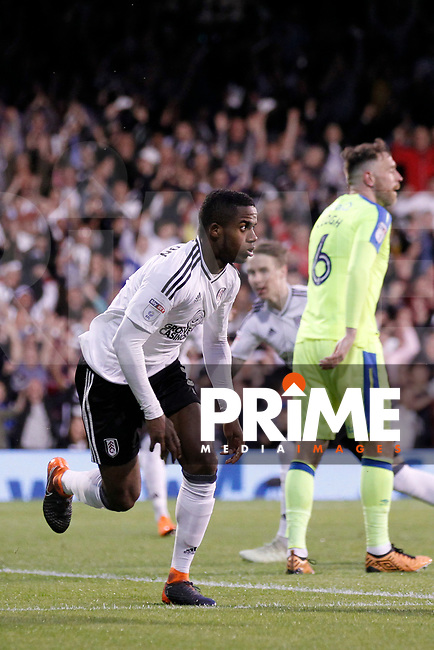 GOAL - Ryan Sessegnon of Fulham scores the opener during the Sky Bet Championship play off semi final 2nd leg match between Fulham and Derby County at Craven Cottage, London, England on 15 May 2018. Photo by Carlton Myrie / PRiME Media Images.