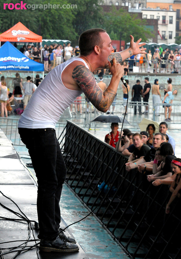 Dave Hause from Philli Punk Band The Loved Ones performs at the summers first Pool Parties Concert at McCarren Park Brooklyn NYC