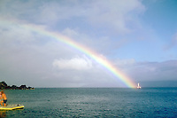 Rainbow, Maui, Hawaii, Catamaran, Swimmer, Dingy