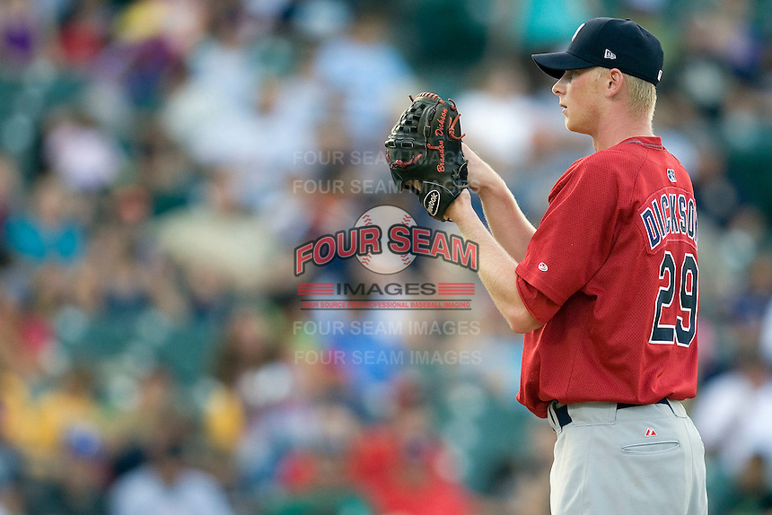 Memphis Redbirds pitcher Brandon DIckson #29 looks in for a sign against the Round Rock Express at the Dell Diamond on July 10, 2011 in Round Rock, Texas.  Memphis defeated Round Rock 10-9.  (Andrew Woolley / Four Seam Images)