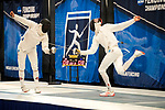 UNIVERSITY PARK, PA - MARCH 25: Marc Blais-Antoine of Ohio State University takes on Sean White of St. John's University in the finals of the epee competition during the Division I Men's Fencing Championship held at the Multi-Sport Facility on the Penn State University campus on March 25, 2018 in University Park, Pennsylvania. (Photo by Doug Stroud/NCAA Photos via Getty Images)