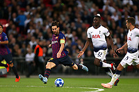 Lionel Messi of FC Barcelona and Victor Wanyama of Tottenham Hotspur during Tottenham Hotspur vs FC Barcelona, UEFA Champions League Football at Wembley Stadium on 3rd October 2018