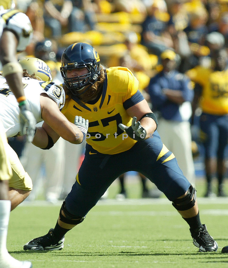AUSTIN CLARK, of the California Golden Bears, in action during the Golden Bears game against the UCLA Bruins at Memorial Stadium  on October 09, 2010  in Berkley, California...California  beats the UCLA 35-7