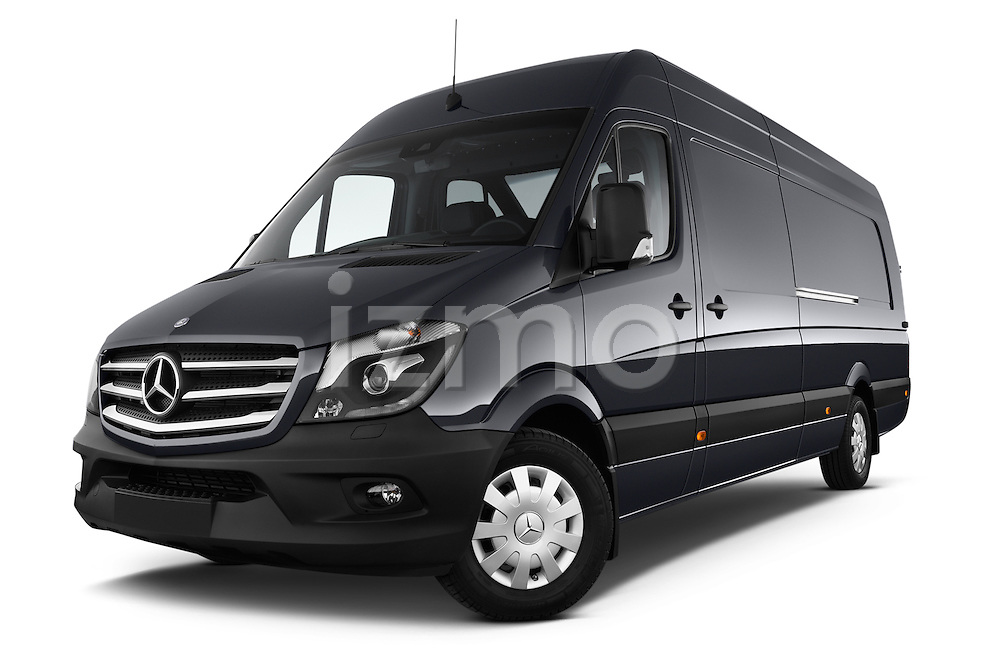 Stock pictures of low aggressive front three quarter view of a 2014 Mercedes Benz Sprinter 319 Bluetec Extra Long High roof 4 Door Cargo Van 2WD Low Aggressive