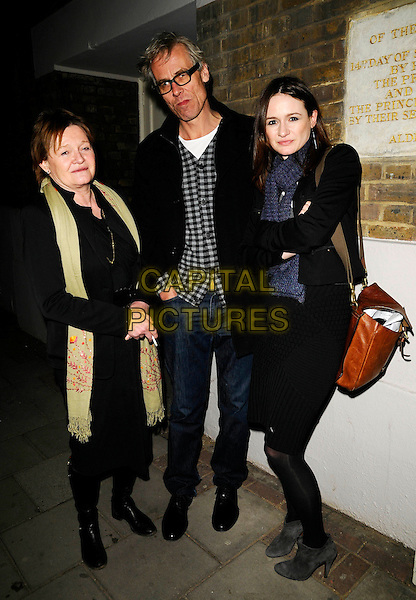 "GUESTS & EMILY MORTIMER .At the ""Dancing At Luchnasa"" Press Night, Old Vic Theatre, The Cut, London, England, March 5th 2009..full length blue scarf brown bag black jacket dress tights grey gray suede booties ankle boots .CAP/CAN.©Can Nguyen/Capital Pictures"