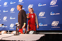 STANFORD-March 23, 2013:  Mikaela Ruef and Joslyn Tinkle during the NCAA press conference Saturday Morning on the day before the first round of the NCAA Division 1 Women's Basketball Championship is played at Maples Pavilion.