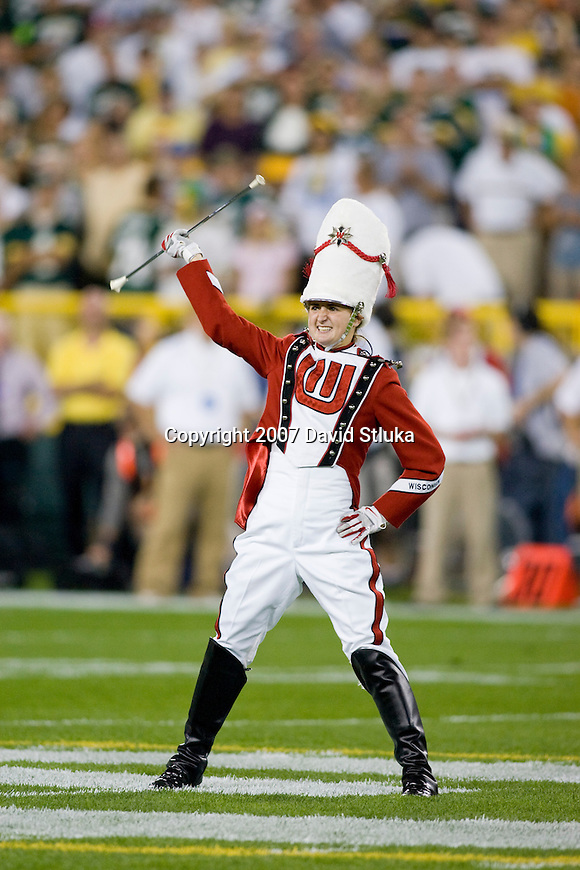 Drum major Rachel Elbing of the Wisconsin Badgers Band leads the band prior to the Green Bay Packers game during an NFL football game against the Chicago Bears at Lambeau Field on October 7, 2007 in Green Bay, Wisconsin. The Bears beat the Packers 27-20. (Photo by David Stluka)