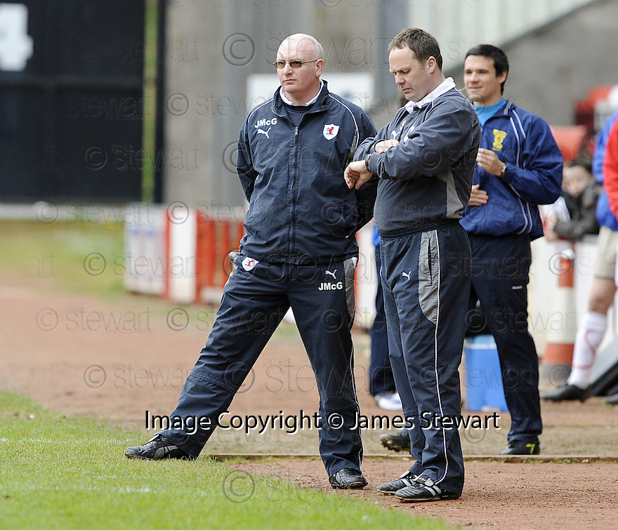 03/05/2008   Copyright Pic: James Stewart.File Name : sct_jspa20_airdrie_v_raith.A DEJECTED JOHN MCGLYNN AND PAUL SMITH SEE TIME RUNNING OUT FOR RAITH ROVERS...James Stewart Photo Agency 19 Carronlea Drive, Falkirk. FK2 8DN      Vat Reg No. 607 6932 25.Studio      : +44 (0)1324 611191 .Mobile      : +44 (0)7721 416997.E-mail  :  jim@jspa.co.uk.If you require further information then contact Jim Stewart on any of the numbers above........