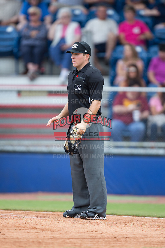 Home plate umpire Brandon Blome during the Appalachian League game between the Princeton Rays and the Danville Braves at American Legion Post 325 Field on June 25, 2017 in Danville, Virginia.  The Braves walked-off the Rays 7-6 in 11 innings.  (Brian Westerholt/Four Seam Images)