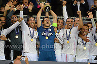 Cardiff City Stadium, Cardiff, South Wales - Tuesday 12th Aug 2014 - UEFA Super Cup Final - Real Madrid v Sevilla - <br /> <br /> Real Madrid&rsquo;s goalkeeper and Captain Iker Casillas celebrates with his team on winning the UEFA Super Cup 2014. <br /> <br /> Photo by Jeff Thomas/Jeff Thomas Photography