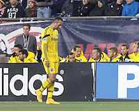 Second yellow card, red card ejection of Justin Meram. Foxborough, Massachusetts - November 9, 2014: In Major League Soccer (MLS) Eastern Conference aggregate goal semifinal, the New England Revolution (blue/white) defeated Columbus Crew (yellow), 3-1, at Gillette Stadium and advance to the Eastern Conference finals with aggregate goals of 7-3 (4-2 and 3-1).